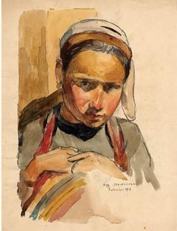 1917 Portrait de jeunne fille Macedonienne, Salonique 1917