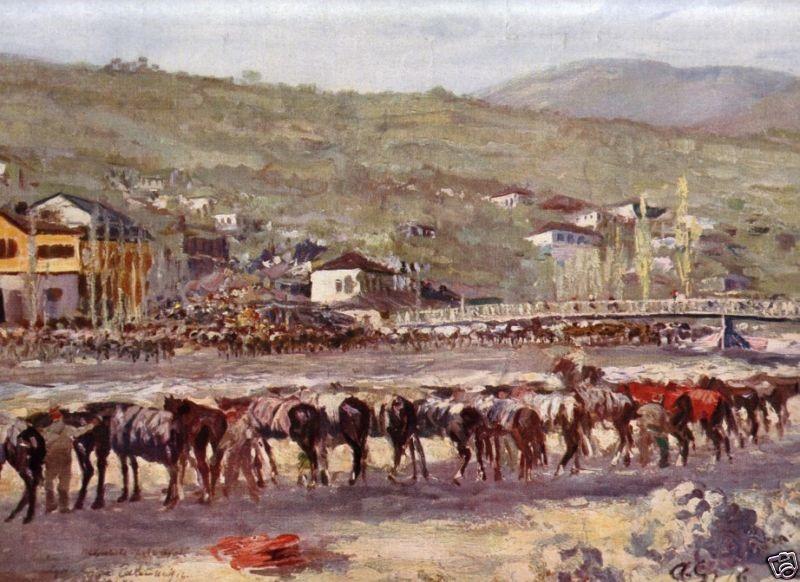 Albert Gartmann 1876-1955 Bulgarian-Army horses near Kriva Palanka 1915