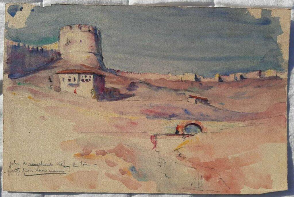 Albert Lemasson (1892-1982) Thessaloniki street scene, 1917, watercolor
