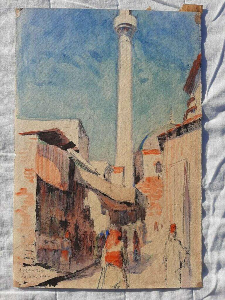 Алберт Лемасон (1892-1982) Улична сцена во Солун, 1917, акварел