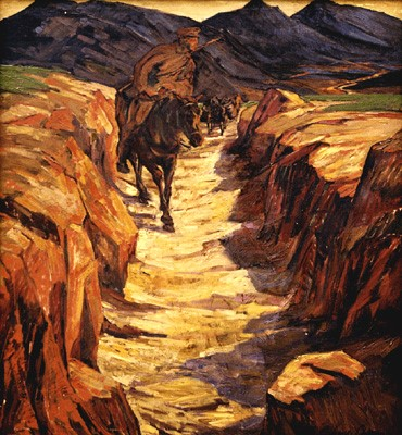 Albrecht Oehme 1876-Tragtier Kollene in Mаzedonien-1914 oil on canvas