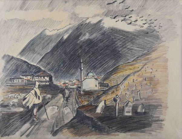 Albrecht von Urach (1903-1969), Passage in Bitola, 1933/34, pencil and crayon on paper