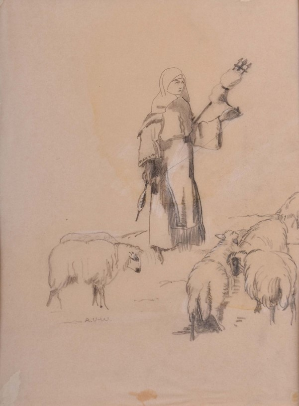 Albrecht von Urach (1903-1969), Shepherdess from Balkan, 1933/34, pencil on paper