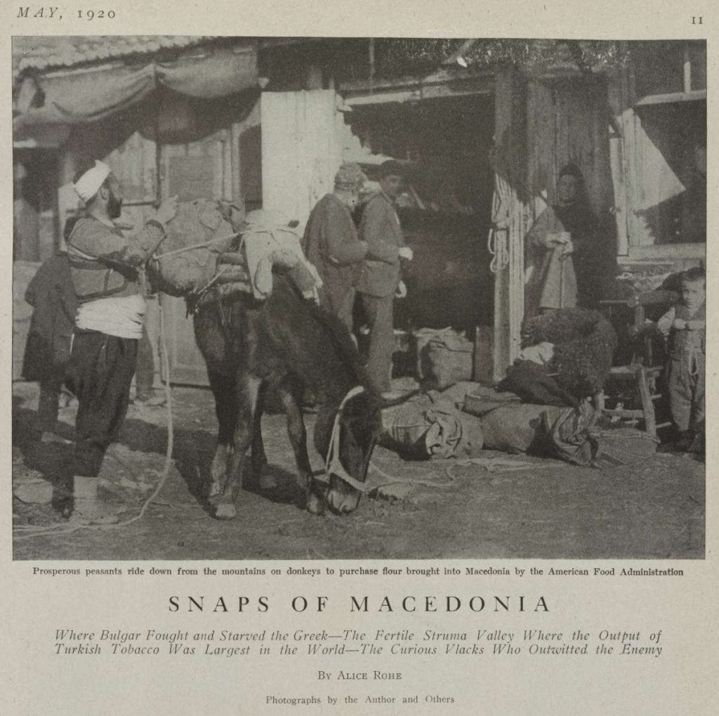"Alice Rohe (1876-1957), ""Snaps of Macedonia"" photos, 1920, published in Travel. New York : Robert McBride & Company, 1920, vol. 35, no. 1, p. 11."
