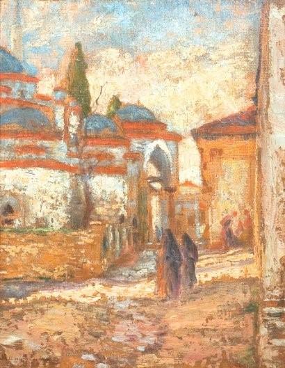 Џамија на 12те апостоли, Солун 1917, масло на платно