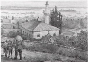 Andrė Beronneau (1896 -1973),Salonique, the mosque of the dervish turners 1917 watercolor