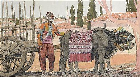 Andre Fremond 1884-1965 Les buffes souvenir de Macedoine 1917 gоuache