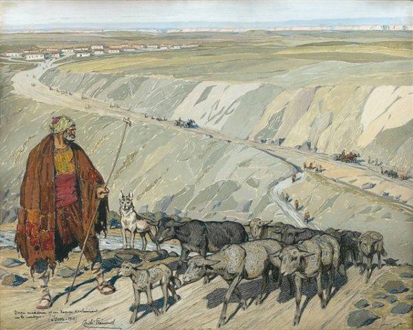 Македонски овчар и трупи во планина, Извор 1917, гваж на хартија.