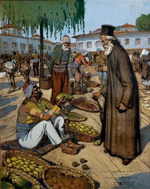 Поп и продавач на овошје, Јаниџе 1916 гваж на хартија