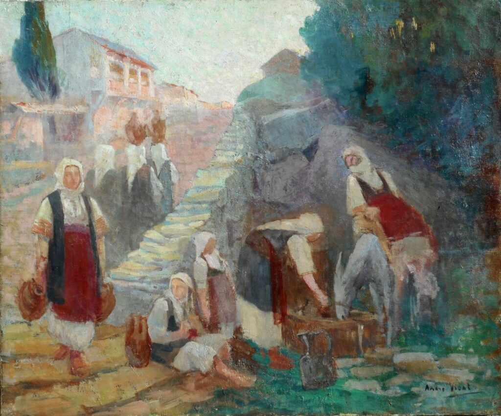André Vidal (1880-1940) Village Buf near Florina (Lerin)~ 1915 oil on canvas