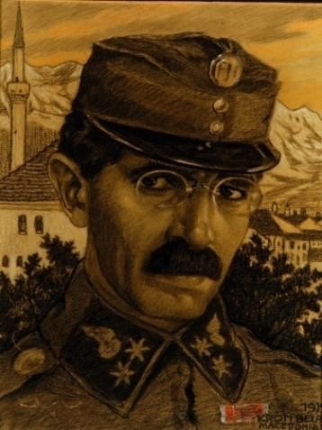 Bela Kron (1884 – 1965) Self-portrait in Macedonia, drawing, 1917