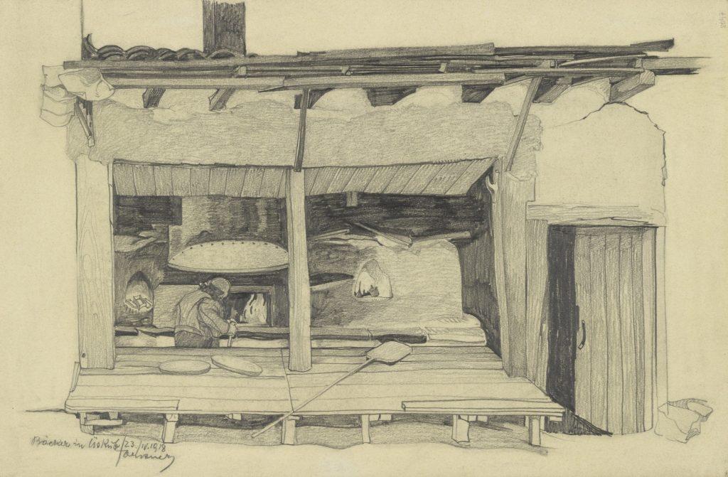 Bleistiftzeichnung von Leopold Forstner Bäckerei in Üsküb heute Skopje