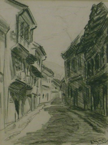 Bogdan Suput 1914-1948 Street in Ohrid 1935 ink and Street in Struga pencil.