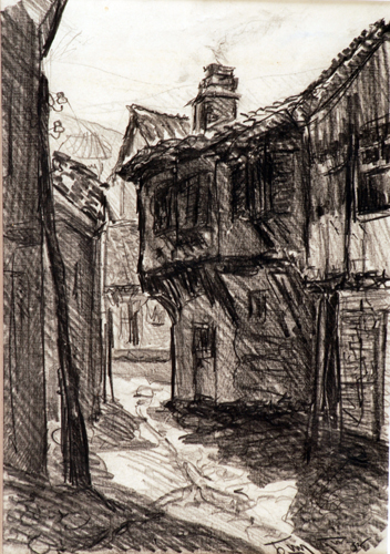 Bogdan Suput 1914-1948 Street in Ohrid 1935 ink and Street in Struga pencil