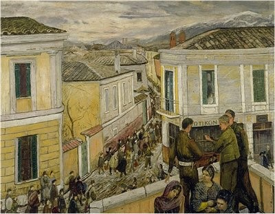 Carel-Weight-1908-1997-Arrival-of-the-British-Troups-in-Kozani-oil-canvas-1946