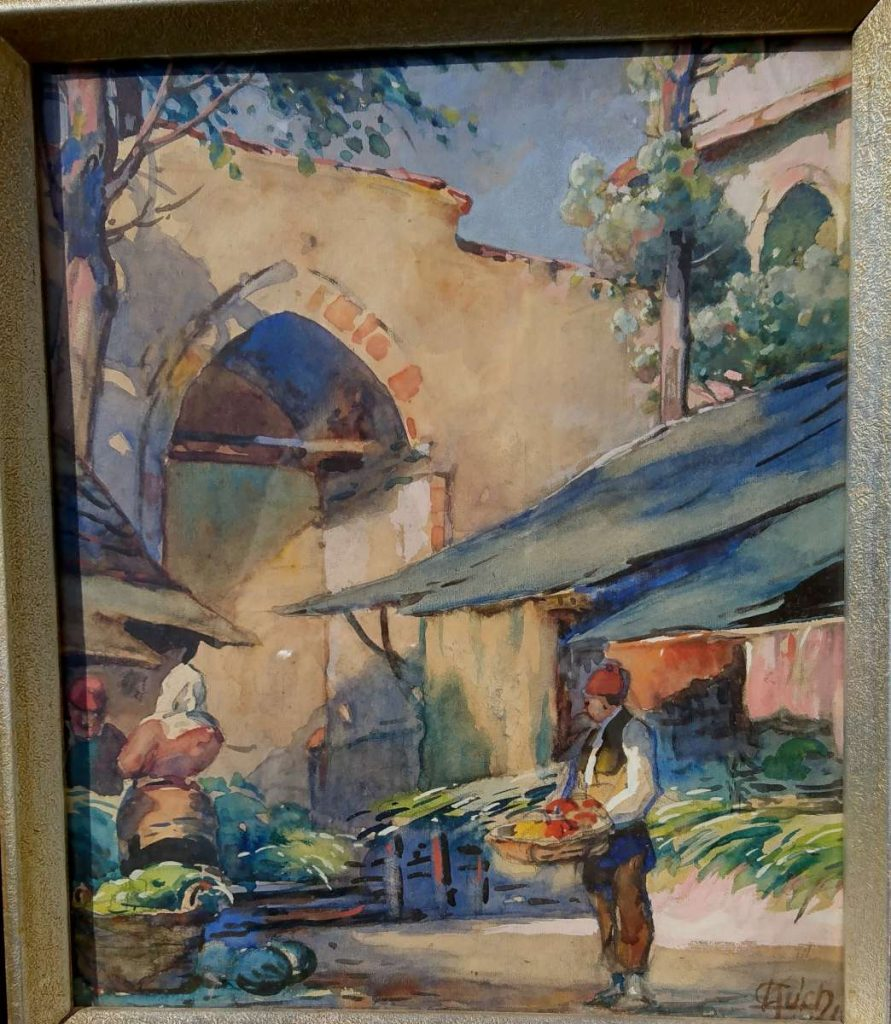 Carlos-Kuch-1899-–-1966-Street-in-Ushkub-1917-Watercolor-1