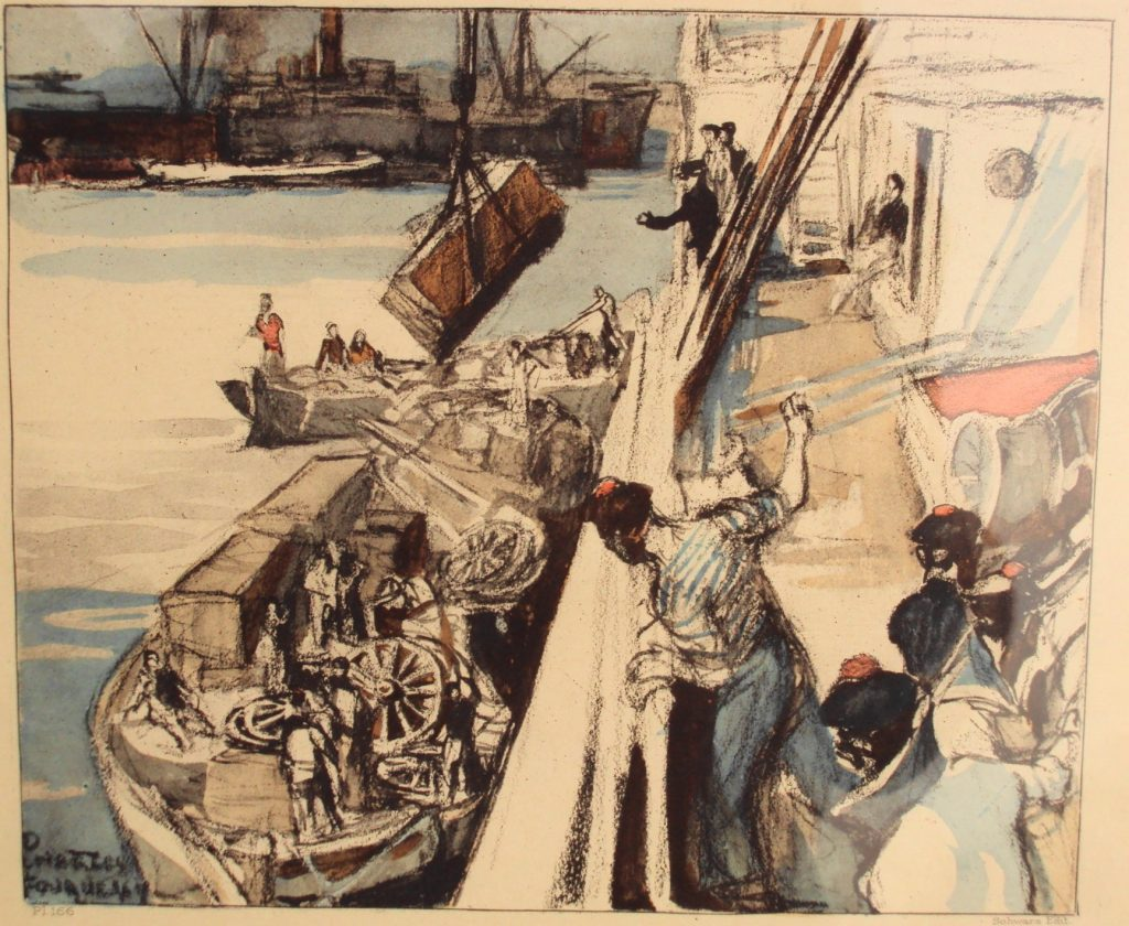 Charles-Fouqeray-1869-1956-Unloading-the-cargo-in-Salonica-1918-lithography
