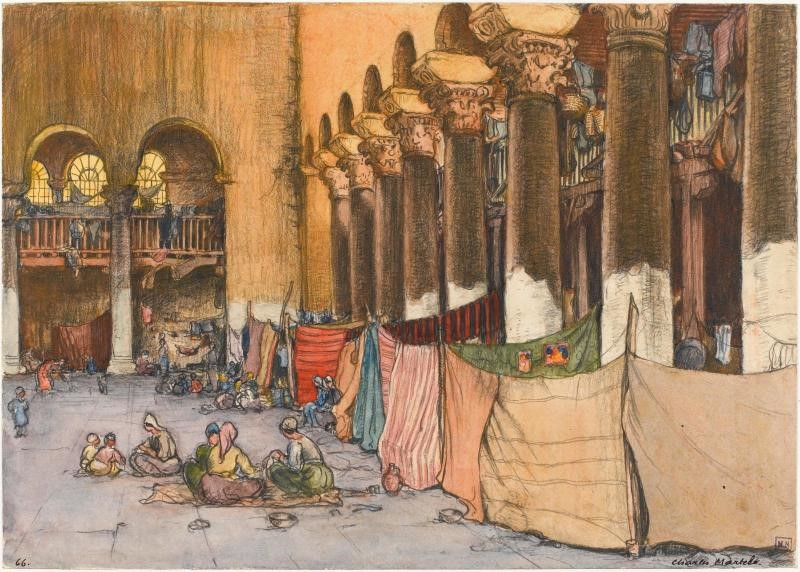 Charles Martel (1869-1922) , Macedonian refugees in Agia Paraskeva cathedral in Thessaloniki 1919, watercolor