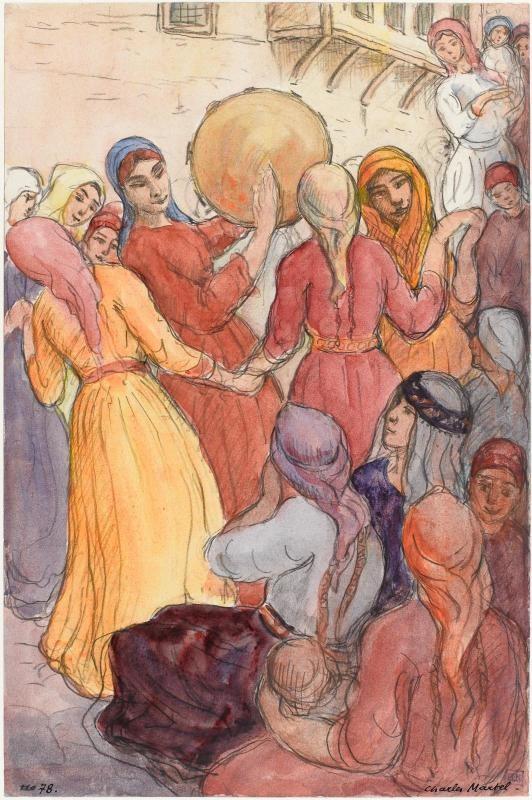 Charles Martel (1869-1922) Macedonian wedding, 1919, watercolor