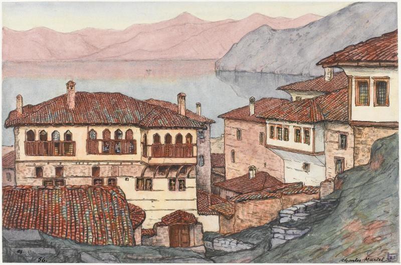 Charles Martel (1869-1922) Palace near Kostur (Kastoria) lake, 1919, watercolor