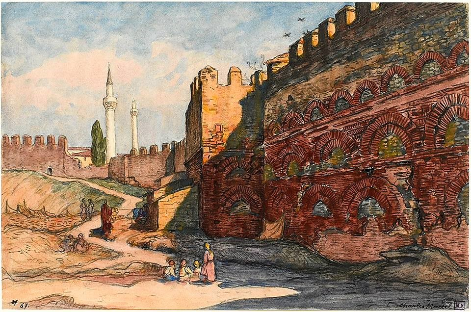 Charles Martel (1869-1922) , The walls of Thessaloniki with The Byzantine castle and Yakup Pasha and Old Palace mosques in the background 1919, watercolor