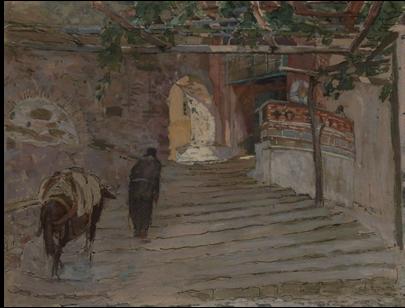 """Charles-René Darrieux (1879-1958) """"Mont Athos, entrée du monastère de Simonos Petra"""" watercolor"""