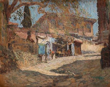 """Charles-René Darrieux (1879-1958) """"Ruelle à Salonique (1917)"""" oil on canvas"""