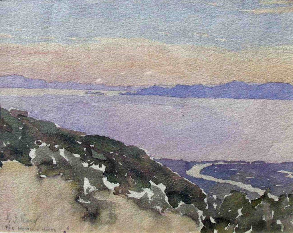 Christo-Ionchev-Cristaretz-1879-1950-Bay-of-Ohrid-1916-watercolor