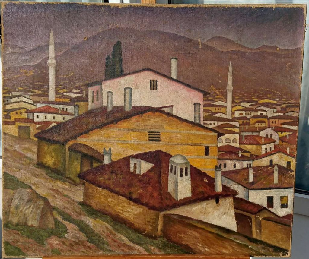"""Unsigned, """"Veles im Mazedonien"""" oil on canvas."""