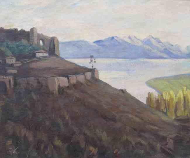 Danyo Chokanov (1901-1982),Ohrid 1942 oil on canvas