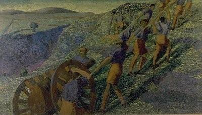 Кралската Пешадиска Артиљерија во Македонија, пролет 1918, масло на платно