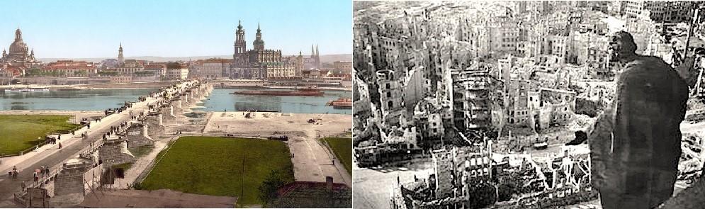 Дрезден пред и по бомбардирањето од февруари 1945 година