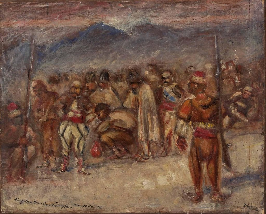 Ernst-Richard-Dietze-1880-1961-In-the-bandit-camp-Macedonia-1917-oil-on-panel