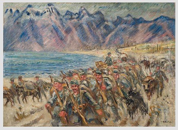 Ernst-Richard-Dietze-1880-1961-Military-Column-Macedonia-1917Dojran-lake-oil-on-canvas