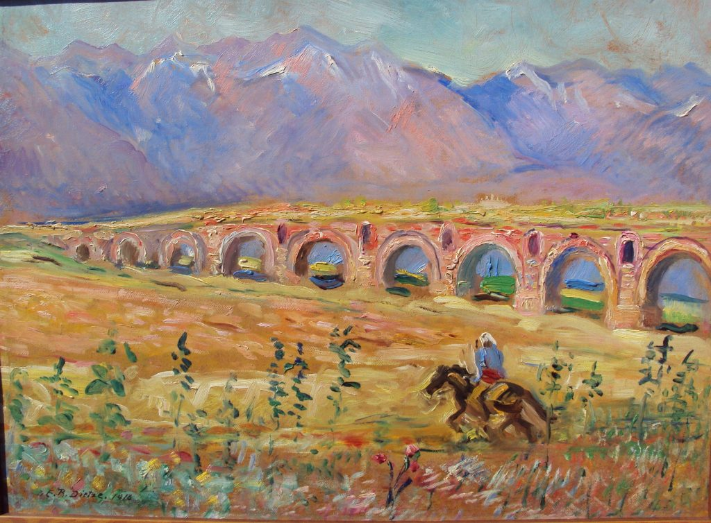 Ernst-Richard-Dietze-1880-1961-Rider-near-the-Skopje-viaduct-1917-oil-on-panel