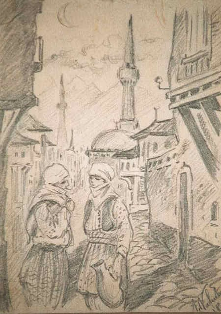 Etienne-Andre-Valentin-1893-1940Scenes-from-Bitola-pencil-drawings