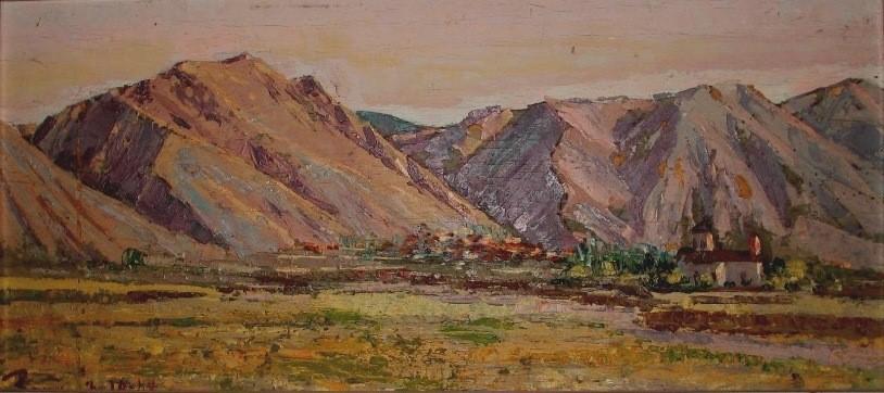 Ettore-Ponzi-1902-1992-Albania-Korcë-Coriza-Catena-montuosa-Morave-1942-oil-on-panel-1