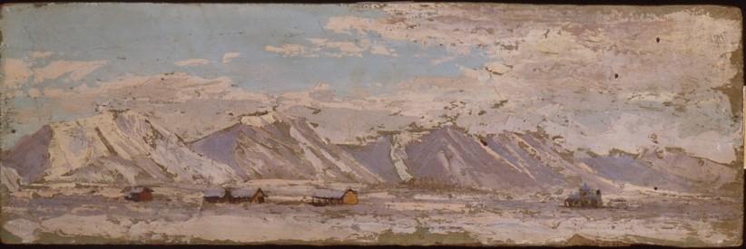 албанија Корча со планината Морав 1942, масло на панел