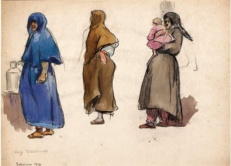 Eugenė Delécluse (1882-1972), Study of three women, Salonika 1917