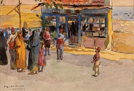 Eugenė Delėcluse (1882..1972) Turkish Caffee, Salonika 1917