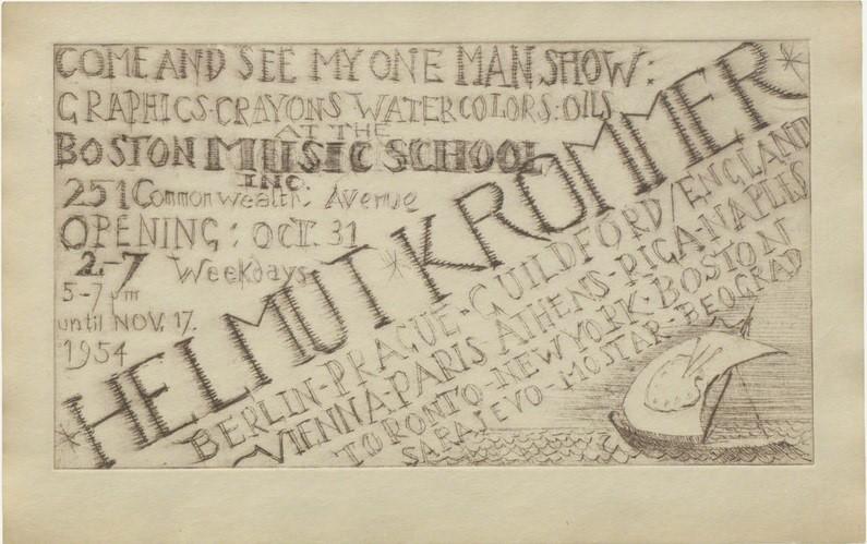 Плакат од излажбата на Хелмут Кромер во Бостон, САД. Македонските слики не се спомнати на плакатот и нејасно е дали се пренесени во Америка