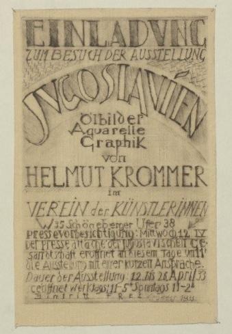 Плакат за ликовната изложба на Хелмут Кромер од југословенски мотиви, Амбасада на Југославија во Берлин 1933 година.