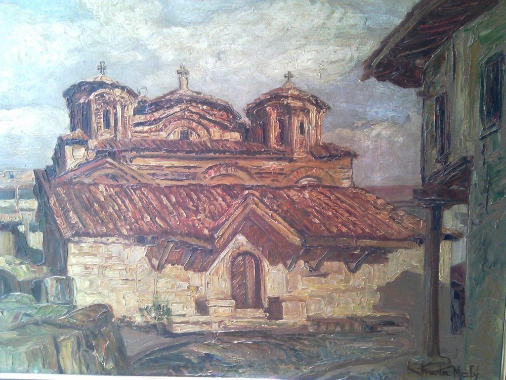 Манастир Свети Пантелејмон крај Скопје 1934, масло на платно