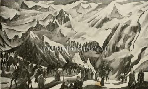 """Franz Heckendorf (1888-1962) """"Camels Caravan 1917"""" drawing."""