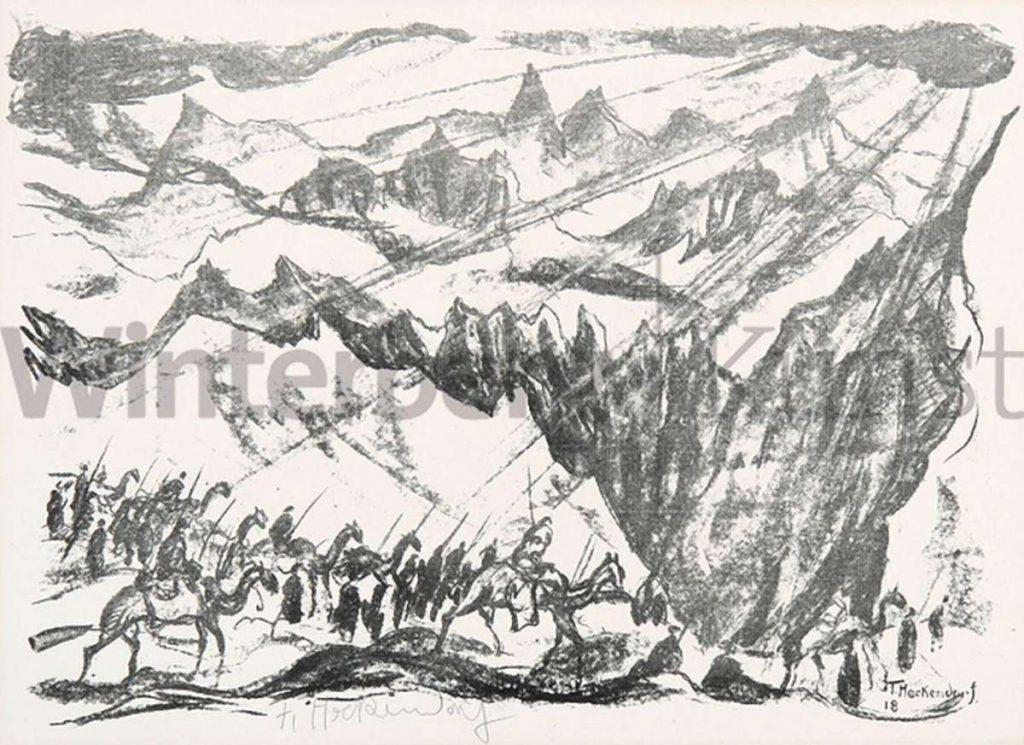 "Franz Heckendorf (1888-1962) ""Camels Caravan 1918"" lithography"