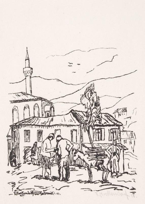 Franz Heckendorf 1888-1962 In Saloniki 1916 etching