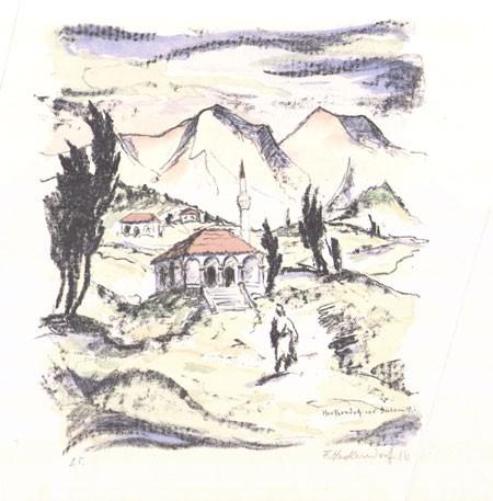Franz Heckendorf 1888-1962 Landscape near Saloniki 1916 lithography