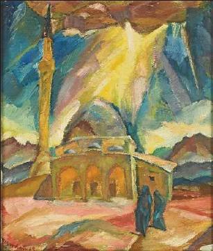 Franz Markau (1881 –1961) Ушкуп (Скопје) Мала џамија 1919, маслена темпера на платно