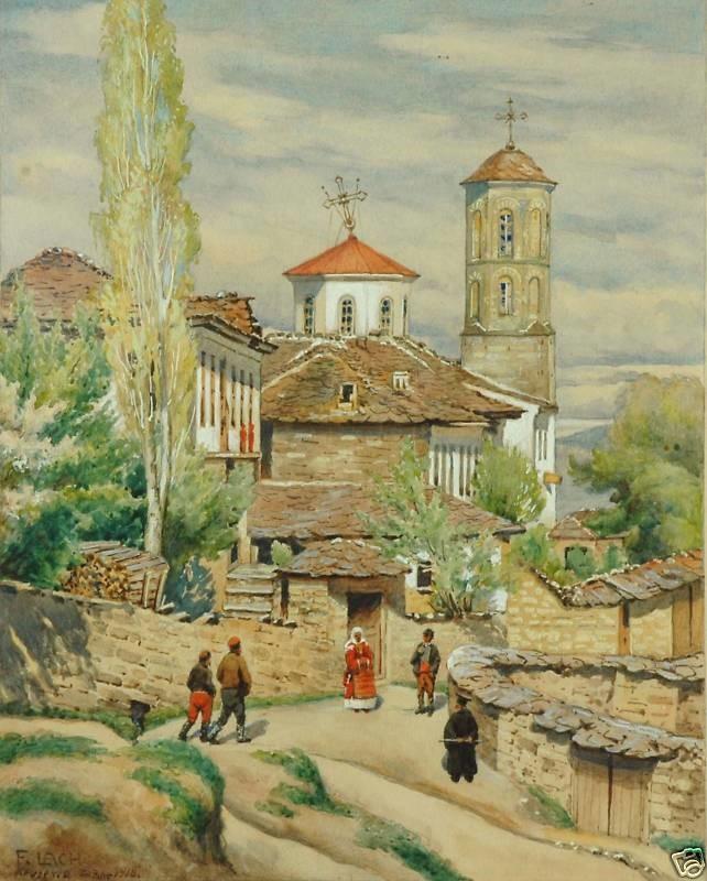 Градска сцена од Крушево 1918, акварел