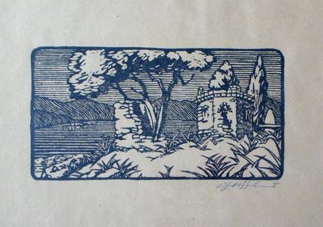"""Gaston-Suisse-1896-1988-""""Mausole-du-Krani-lac-de-Presba-1917""""-woodcut-in-colors"""